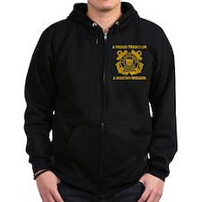USCGAux-Black-Shirt-3 Zip Hoodie