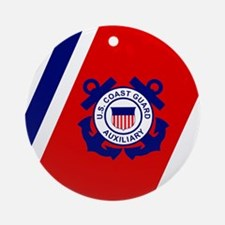 USCGAux-Racing-Stripe-Tile.gif Round Ornament
