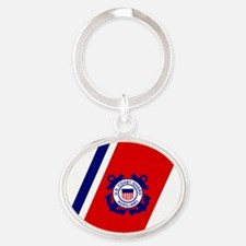USCGAux-Racing-Stripe-Sticker-2.gif Oval Keychain