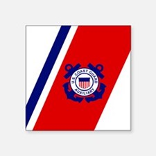 "USCGAux-Racing-Stripe-Mouse Square Sticker 3"" x 3"""