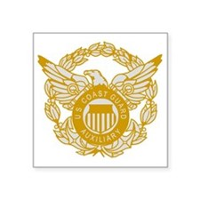 "USCGAux-Eagle-Silver.gif Square Sticker 3"" x 3"""