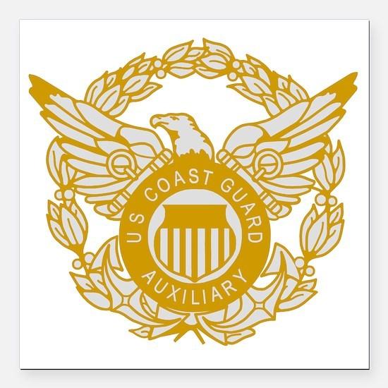"USCGAux-Eagle-Silver.gif Square Car Magnet 3"" x 3"""