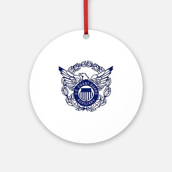 USCGAux-Eagle-Blue-X.gif Round Ornament
