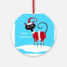 Personalized Santa Cat Ornament