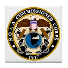 NOAA-Officer-Black-Shirt Tile Coaster