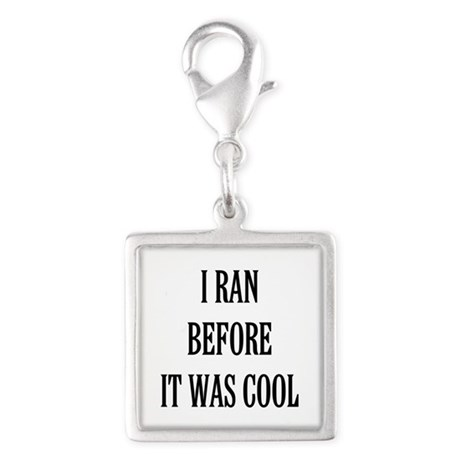 I Ran Before it Was Cool Silver Square Charm