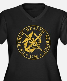USPHS-Black- Women's Plus Size Dark V-Neck T-Shirt