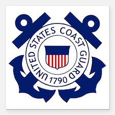 "Delete-USCG-Logo-2-X.gif Square Car Magnet 3"" x 3"""