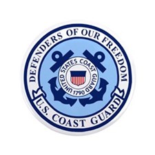 """USCG-Defenders-Blue-White.gif 3.5"""" Button"""