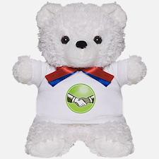 Handshake Black White Woodcut Circle Teddy Bear