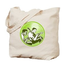 Tug of War Officer Worker Pull Rope Retro Tote Bag