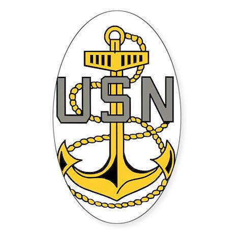 Navy-CPO-Anchor-Bonnie-X.gif Sticker (Oval)