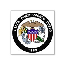"USPHS-Commissioned-Corps-Wh Square Sticker 3"" x 3"""