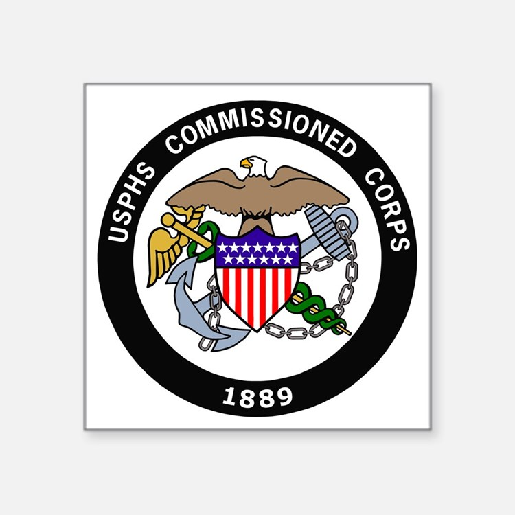 """USPHS-Commissioned-Corps-Wh Square Sticker 3"""" x 3"""""""
