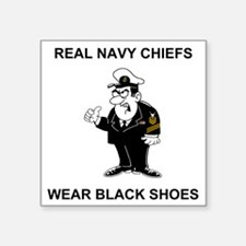 "Navy-Humor-Black-Shoes-CMC. Square Sticker 3"" x 3"""