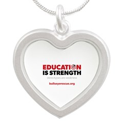 Education is Strength Silver Heart Necklace