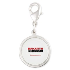 Education is Strength Silver Round Charm