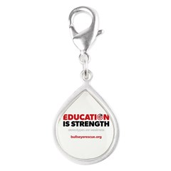 Education is Strength Silver Teardrop Charm