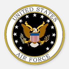 USAF-Logo-7-Black.gif Round Car Magnet