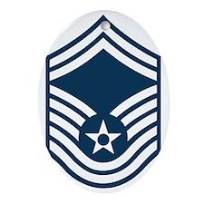 USAF-SMSgt-Black-Shirt Oval Ornament