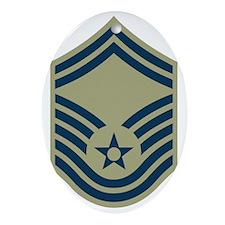 USAF-SMSgt-Black-Shirt-2 Oval Ornament