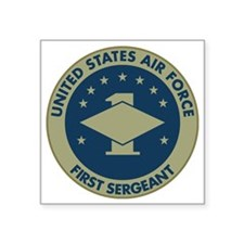 "USAF-First-Sergeant-Black-S Square Sticker 3"" x 3"""