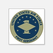 "USAF-First-Sergeant-Black-S Square Sticker 3"" x 3"""
