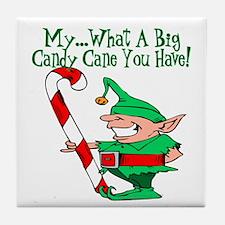 Candy Cane Elf Tile Coaster