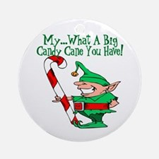 Candy Cane Elf Ornament (Round)