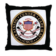 USCG-TraCen-Cape-May-Black.gif Throw Pillow
