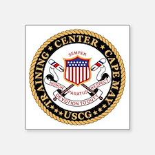 """USCG-TraCen-Cape-May-Black. Square Sticker 3"""" x 3"""""""