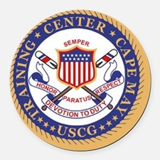 3-USCG-TraCen-Cape-May-Button.gif Round Car Magnet