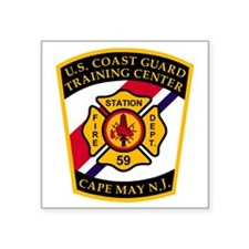 "USCG-TRACEN-CpMy-Fire-Dept- Square Sticker 3"" x 3"""