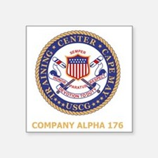 "USCG-Recruit-A176-Black-Shi Square Sticker 3"" x 3"""