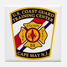 3-USCG-TRACEN-CpMy-Fire-Dept-Black-Sh Tile Coaster