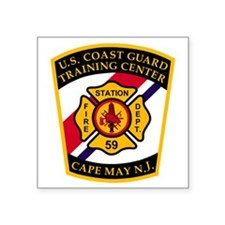 "3-USCG-TRACEN-CpMy-Fire-Dep Square Sticker 3"" x 3"""