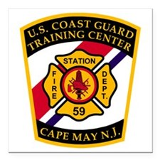 "3-USCG-TRACEN-CpMy-Fire- Square Car Magnet 3"" x 3"""