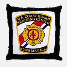 3-USCG-TRACEN-CpMy-Fire-Dept-Black-Sh Throw Pillow