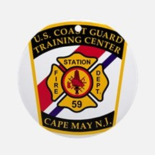 3-USCG-TRACEN-CpMy-Fire-Dept-Black- Round Ornament