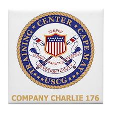 USCG-Recruit-C176-Black-Shirt Tile Coaster