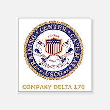 "USCG-Recruit-D176-Black-Shi Square Sticker 3"" x 3"""