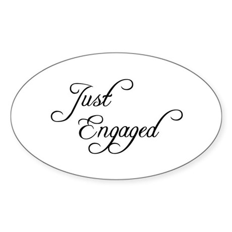 Just Engaged Oval Sticker