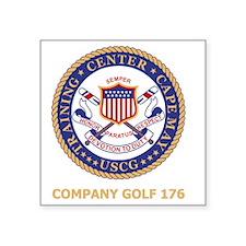 "USCG-Recruit-G176-Black-Shi Square Sticker 3"" x 3"""