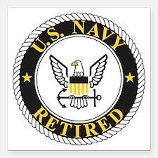 "Navy-Retired-Bonnie-3.gi Square Car Magnet 3"" x 3"""