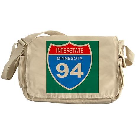 Sign-Minnesota-Interstate-94-Button. Messenger Bag