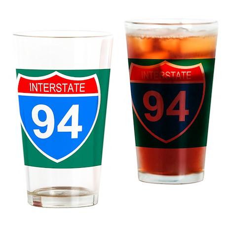 Sign-Interstate-94-Sticker.gif Drinking Glass