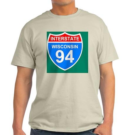 Sign-Wisconsin-Interstate-94-Tile.gi Light T-Shirt