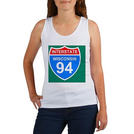 Sign-Wisconsin-Interstate-94-Tile Women's Tank Top