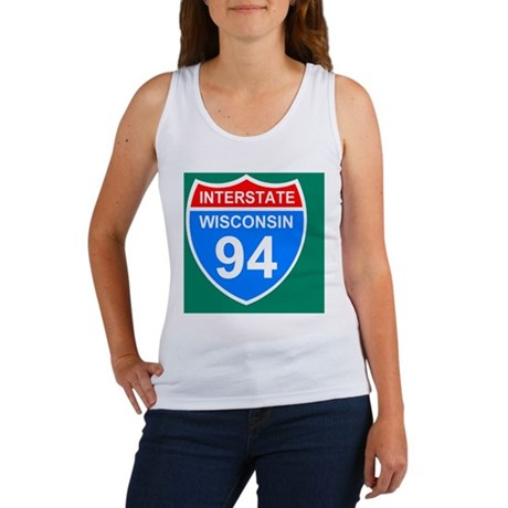 Sign-Wisconsin-Interstate-94-Stic Women's Tank Top