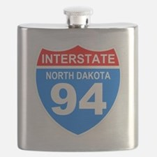 Sign-North-Dakota-Hwy-I94-Black-Shirt Flask